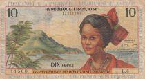 French Antilles 10 Francs Girl, sugar cane - 1964 - Serial L.6 - F to VF - P.8b