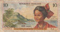 French Antilles 10 Francs Girl, sugar cane - 1964 - Serial N.6 - F to VF - P.8b
