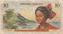 French Antilles 10 Francs Girl, sugar cane - 1964 - Serial N.7 - F to VF - P.8b