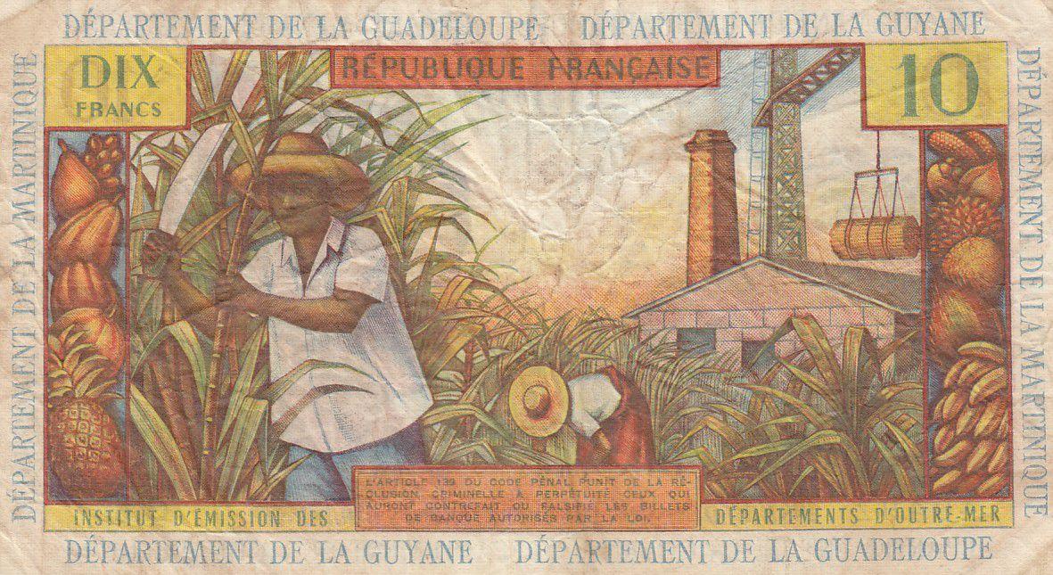 French Antilles 10 Francs Girl, sugar cane - 1964 - Serial O.6 - F to VF - P.8b
