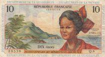 French Antilles 10 Francs Girl, sugar cane - 1964 - Serial Q.6 - F to VF - P.8b