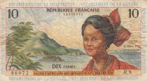 French Antilles 10 Francs Girl, sugar cane - 1964 - Serial R.6 - F to VF - P.8b