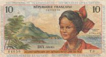 French Antilles 10 Francs Girl, sugar cane - 1964 - Serial T.6 - F to VF - P.8b