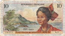 French Antilles 10 Francs Girl, sugar cane - 1964 - Serial X.5 - aFine - P.8b