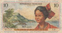 French Antilles 10 Francs Girl, sugar cane - 1964 - Serial Y.6 - F to VF - P.8b