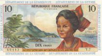 French Antilles 10 Francs Girl, sugar cane - 1964 - Serial Y.7 - UNC - P.8