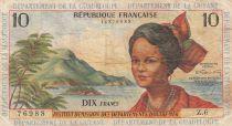 French Antilles 10 Francs Girl, sugar cane - 1964 - Serial Z.6 - F to VF - P.8b