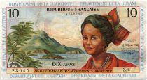 French Antilles 10 Francs Girl, sugar cane - 1964 - Serial Z.6 - VF - P.8 b
