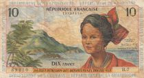 French Antilles 10 Francs Girl, sugar cane - 1964 - Various serials - F to VF - P.8b