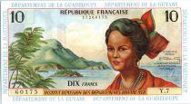 French Antilles 10 Francs Girl, sugar cane - 1964 - Y 7