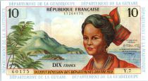 French Antilles 10 Francs Girl, sugar cane - 1964 - Y 7