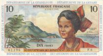 French Antilles 10 Francs Girl, sugar cane - 1964 (1966) - Série F.6