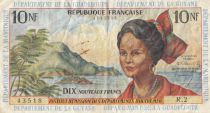 French Antilles 10 NF Girl, sugar cane - 1962
