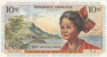 French Antilles 10 NFrancs - 1963 Serial X.2 - P.5 - UNC