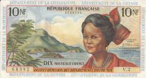French Antilles 10 Nouveaux Francs Girl, sugar cane - 1963 Serial V.2