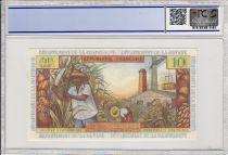 French Antilles 10 Nouveaux Francs Girl, sugar cane - 1966 Serial Y.7-59289 PCGS UNC 64