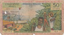 French Antilles 50 Francs - 1964 - Serial C.2 - Good - P.9a