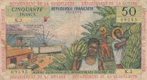 French Antilles 50 Francs Banana harvest - 1964 - Serial 2 - aVFine - P.9 b