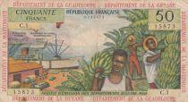 French Antilles 50 Francs Banana harvest - 1964 - Serial C.1 - F to VF - P.9 b