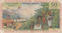 French Antilles 50 Francs Banana harvest - 1964 - Serial K.2 - aVFine - P.9 b