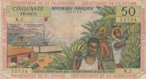 French Antilles 50 Francs Banana harvest - 1964 - Serial K.2 - Fine - P.9 b