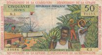 French Antilles 50 Francs Banana harvest - 1964 - Serial K.2 -F to VF - P.9 b