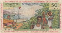 French Antilles 50 Francs Banana harvest - 1964 - Serial L.1 - F to VF - P.9 a