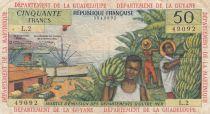 French Antilles 50 Francs Banana harvest - 1964 - Serial L.2 - aVFine - P.9 b
