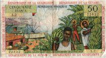 French Antilles 50 Francs Banana harvest - 1964 - Serial L.2 - VF - P.9 b
