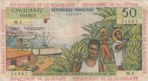 French Antilles 50 Francs Banana harvest - 1964 - Serial M.1 - F to VF - P.9 a - 1st signature