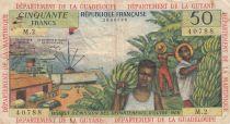 French Antilles 50 Francs Banana harvest - 1964 - Serial M.2 - VF - P.9 b