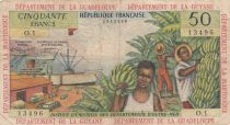French Antilles 50 Francs Banana harvest - 1964 - Serial O.1 - F to VF - P.9 a - 1st signature