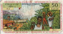 French Antilles 50 Francs Banana harvest - 1964 - Serial O.2 - VFine - P.9 b