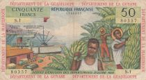 French Antilles 50 Francs Banana harvest - 1964 - Serial S.1 - F to VF - P.9 a - 1st signature