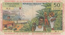 French Antilles 50 Francs Banana harvest - 1964 - Serial W.2 - F to VF - P.9 b
