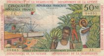 French Antilles 50 NF Banana harvest - 1963 - Serial J.1 - F to VF - P.6a