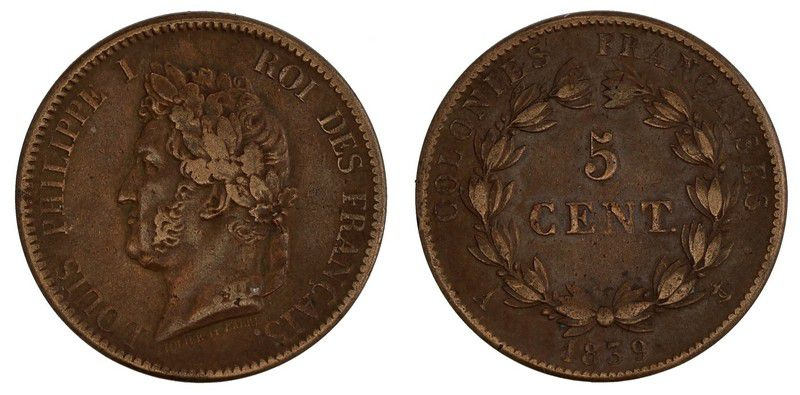 French Colonies 5 Cents Louis-Philippe I - 1839 A Paris