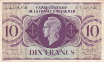 French Equatorial Africa 10 Francs 1944 - Serial A - P.16d - VF