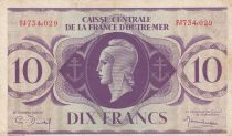 French Equatorial Africa 10 Francs Marian 1944 - Serial FJ734.029 - P.16a