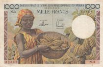 French Equatorial Africa 1000 Francs AEF  and Cameroun - 1957 Serial N.3
