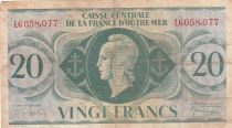 French Equatorial Africa 20 Francs 1944 - Serial LG - P.17b - F to VF