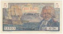 French Equatorial Africa 5 Francs Bougainville - 1947 Serial O.26-75933