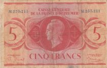 French Equatorial Africa 5 Francs Marian 1944 - Serial AL 257.211 - P.15a