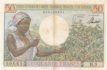French Equatorial Africa 50 Francs AEF and Cameroun - 1957 Serial B.9 - XF