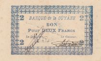 French Guiana 2 Francs Blue Type 1945 - N° 087463 - WWII