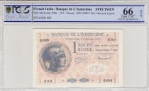French India 1 Rupee 1945 - Specimen O.000 - P.4 - PCGS 66 OPQ