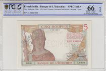 French India 5 Rupees  - ND (1945) - Specimen O.0000 - P.5 - PCGS 66 OPQ