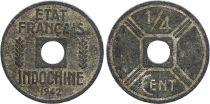 French Indo-China 1/4 Cent Etat Français 1942-1943 - F