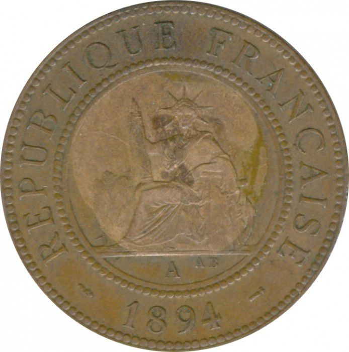 French Indo-China 1 Cent Liberty Seated - Indo-China 1894A Paris
