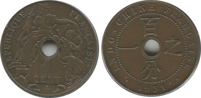French Indo-China 1 Cent Republican statue - 1931 torch